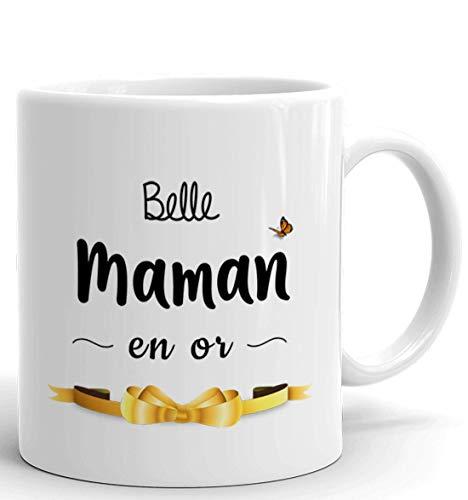 Tasse Mug Cadeau Belle Mère - Belle Maman en Or - Idée Originale Anniversaire Fête des Mères