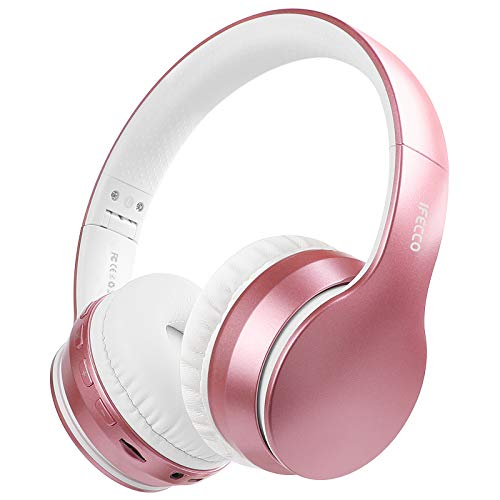 Ifecco Bluetooth Headphones, 4 in 1 Upgrade Bluetooth Foldable Over-Ear Headsets with Micro Support SD/TF Card Compatible with Bluetooth-Enabled Devices (Rose Gold)