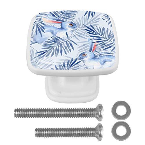 4 unidades de pomos cuadrados de cristal para cajones y cajones, pomos cuadrados con tornillos, tiradores de cajón, accesorios para cocina, baño, dormitorio, conejos y hojas blancas