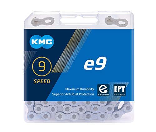 "KMC Unisex– Erwachsene e9 E-EPT E-Bike 9-Fach Kette 1/2\"" x11/128, 136 Glieder, Silber"
