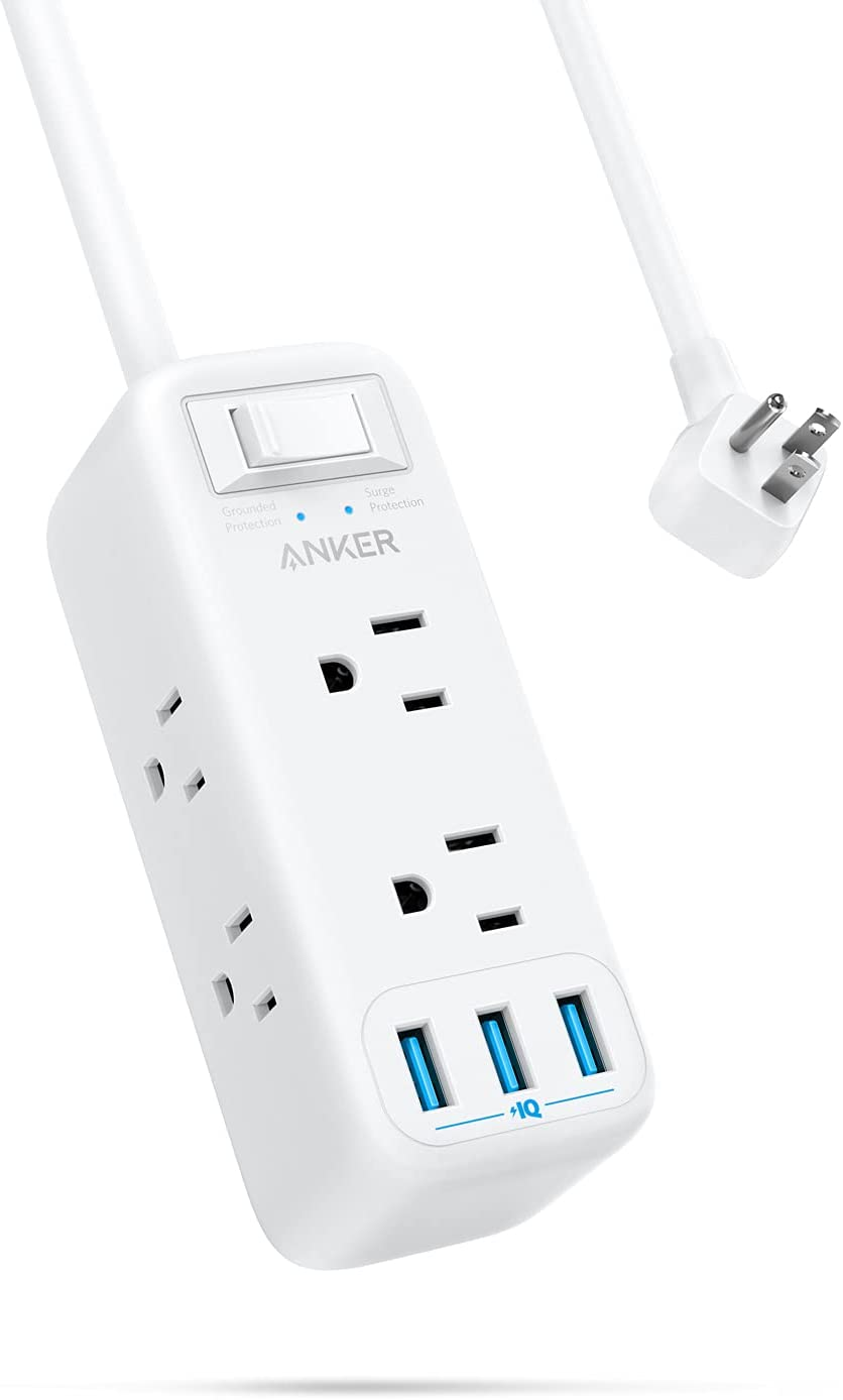 Anker Power Strip Surge Protector with USB, 6 ft Extension Cord, Flat Plug, PowerExtend USB with 6-Outlets and 3 USB Ports, Compact for Travel, Home and Office (900 Joules)