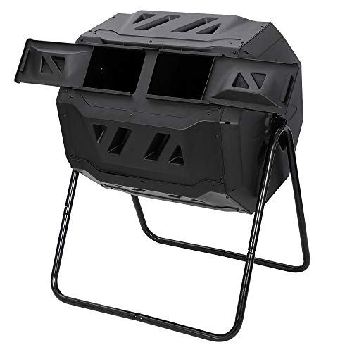 Why Choose Large Composting Tumbler 43 Gallon Capacity Composter, Dual Chamber Compost Bin Outdoor R...