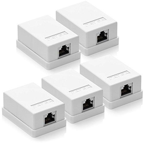 deleyCON 5X CAT 6a Netzwerkdose 1x RJ45 Buchse FTP geschirmt Aufputz Montage 10 Gbit Ethernet Netzwerk LAN Dose RAL 9003 Weiß