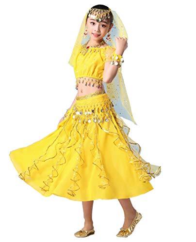 Maguun Traje de Danza del Vientre para niñas Vestido de Bollywood para niños Traje de Princesa árabe Conjunto de 3 Piezas de Carnaval de Rendimiento Indio