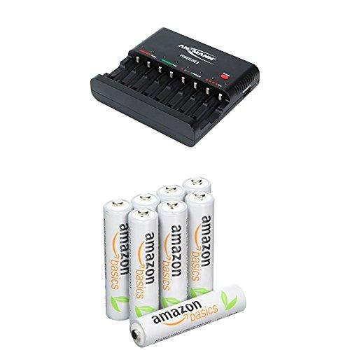 ANSMANN Batterieladegerät Powerline 8 für Akku Batterien - Universal Ladegerät, 8-fach multi Akkuladegerät zum Laden & Amazon Basics Vorgeladene Ni-MH AAA-Akkus - Akkubatterien 8 Stck