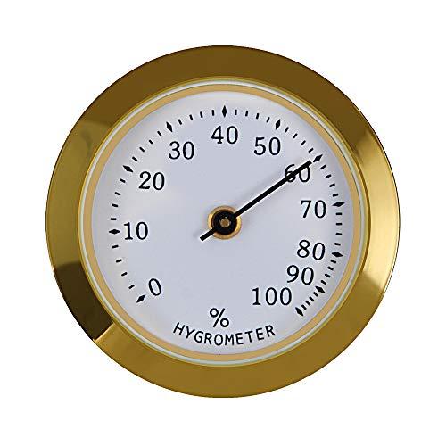 Analog Cigar Humidor Hygrometer, Humidity Gauge Indicator Monitor (Gold)