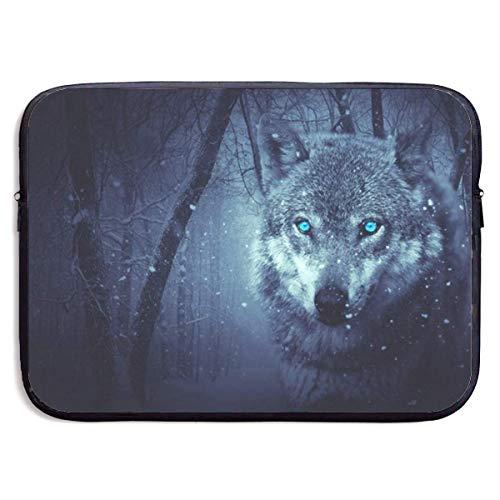 Funda para portátil Wold Wolf Blue Eyes Funda Protectora para portátil Funda Protectora Maletín de Neopreno Resistente al Agua de 15 Pulgadas