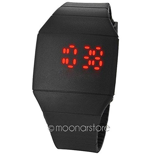 GEZICHTA Fashion Sports Uhren LED Touch Display Silikon Digital Display superdünn Gummi Armbanduhr Unisex für Erwachsene Kinder, Schwarz