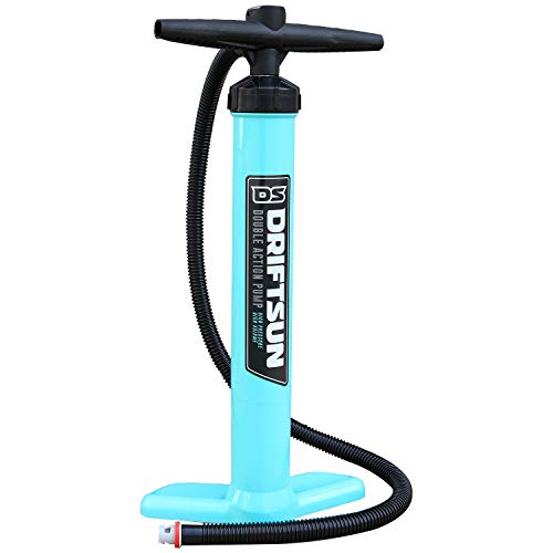 Driftsun Double Action Manual Air Pump - Compatable with Halkey-Roberts Valves, for Floating Platforms and Kayaks, High Pressure, High Volume