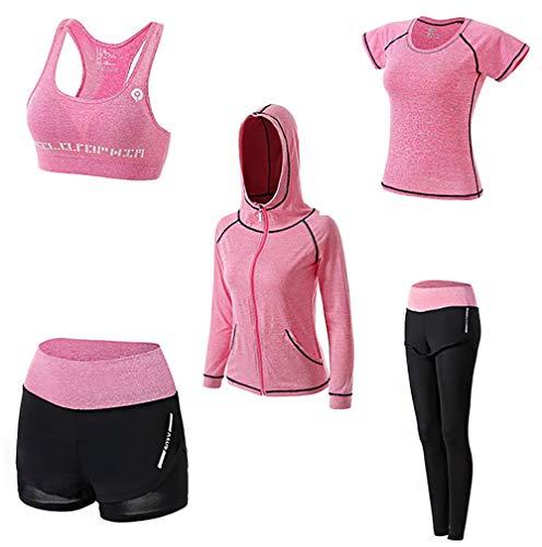 AFDLT dames T-shirt, yoga-kleding, outdoor, sport, fitness, korte broek, hoge taille, leggings, Quick Dry zweetjas, 5-delige set