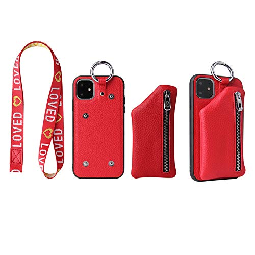 for iPhone 11/12/Pro/Max/X/XR/XS/XS Max/Mini/Pro Max Leather Case Cover Fashion Zipper Coin Wallet Phone Shell,Case Wallet with Credit Card Holder,Phone case with Lanyard (red, iPhone 12 Mini)