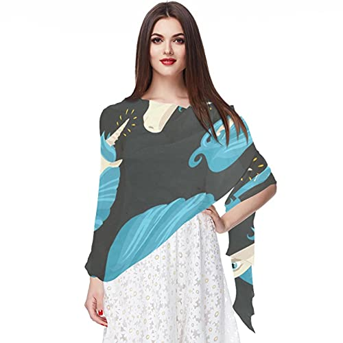 WJJSXKA Bufandas para mujer, estampado ligero, estampado floral, bufanda, chal, bufandas de moda, chales de protección solar, azulejo, pelo azul, unicornio, animal
