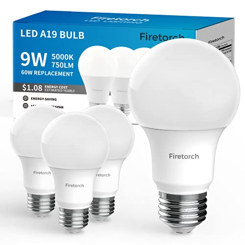 Firetorch 4 Packs A19 Led Bulb,9 W 60W Equivalent, E26 Led Light Bulbs Standard Replacement Bulb 750 Lumen,Non-Dimmable, UL Listed 5000K