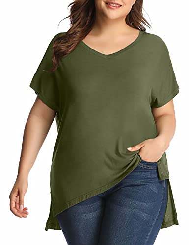 LARACE Womens Plus Size Summer Tops For Women Side Split Tee V-Neck Basic T-Shirts Short Sleeve Tunic For Ladies(Army Green 1X)