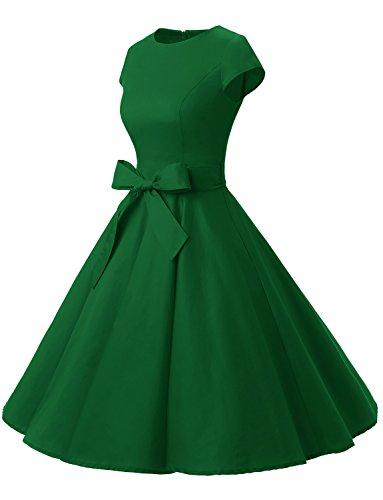 Dressystar Damen Vintage 50er Cap Sleeves Dot Einfarbig Rockabilly Swing Kleider S Armeegrün - 2