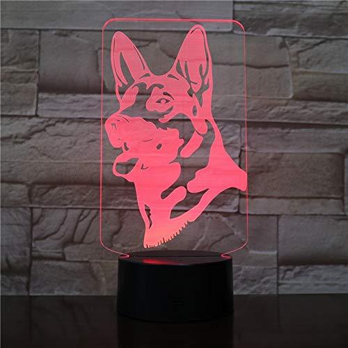 Pastor Alemán Acrílico 3D LED Luz de noche Lámpara de mesa Mesita de noche Decoración Regalo de niños