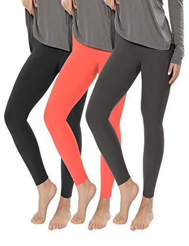 ODODOS 7/8 Basic Yoga Leggings, Brushed Buttery Soft Slim Leggings +Plus Size, 3Pack, Black, Charcoal, Peach, Small-Medium