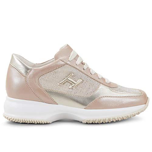 Hogan Sneakers Interactive Rosa e Oro in Pelle e Tessuto - HXW00N0BH50 MYW0K98 - Taglia 36