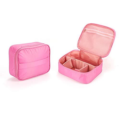 メイクボックス プロ用 メイクケース コスメ収納スタンド 大容量 コスメケース 收納抜群 メイクブラシバッグ 旅行用 収納ケース 化粧ジュエリボックス MIRAISZ(ピンクのピンストライプ)