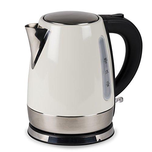 Wasserkocher Wasser Kocher Wasserkessel Kompakt kabellos Camping 1 Liter in creme nur 1000W - Edelstahl Tee Kessel Küche Outdoor 1L Creme Idealfür Unterwegs, das Reisemobil, den Garten oder zu Hause.