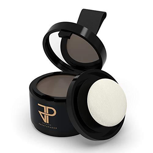 JP Conceal (Dunkelbraun) - Premium Ansatzpuder für Männer & Frauen, wasserfestes 3in1 Haar Make-Up zur gezielten Haarverdichtung am Ansatz, Scheitel oder Bart. Concealer zum Kaschieren lichter Stellen