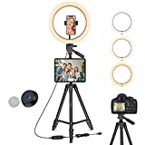 12' LED Ring Light with Stand Adjustable, 2-in-1 Phone/Tablet Tripod Mount, Dimmable Ring Light for Live Stream/Makeup/YouTube Video/Photography/Conference, Compatible with Tablet/Camera/GoPro