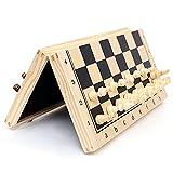 Queta Juego de ajedrez magnético plegable con figuras de ajedrez, plegable, internacional, juego de mesa de viaje, juego de mesa, madera, ajedrez, niños, adultos