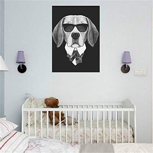 Serie de Perros con Gafas de Sol Animal Fresco nórdico decoración del hogar Lienzo Pared Arte Cartel,Pintura sin Marco,50X75cm