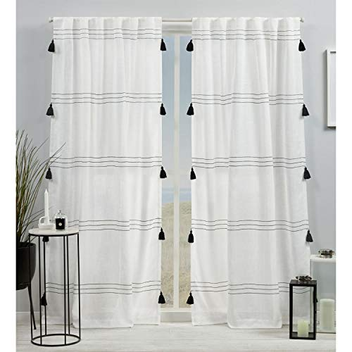 Exclusive Home Curtains Demi Light Filtering Hidden Tab Top Curtain Panel Pair, 54x84, Black