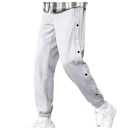 Lenfeshing Pantalones Casuales con Bolsillo A La Moda para Hombres Pantalón Cropped Deportivo Tapered