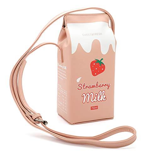 Christm Damen Schultertasche, Milk Box Cartoon Mädchen Umhängetasche Handytasche Cross-Body-Bags rose