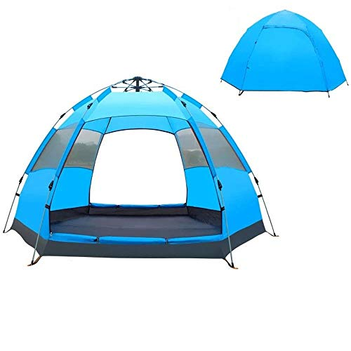 Luorizb Hexagonal tent double-layer outdoor camping 3-4 people automatic double 2 people camping anti-storm outdoor (Color : Small blue)