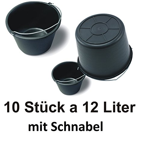 10 x DKB Profi Qualitäts Baueimer Mörteleimer 12Liter Eimer 12 l