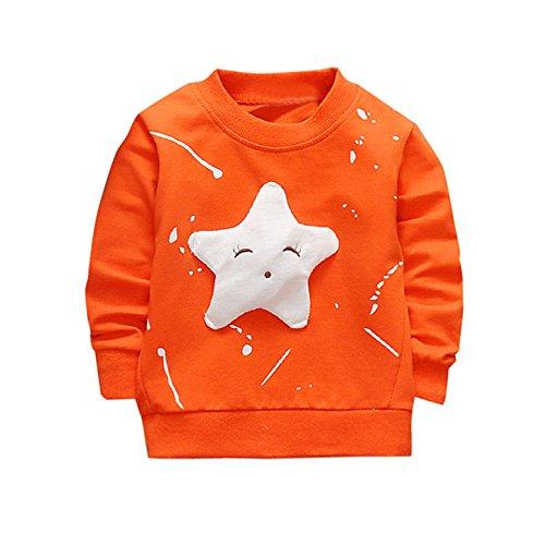 Kobay Junge Mädchen Baby Outfits Kleidung InfantStar Gedruckte Baumwolle Lange Ärmel T-Shirt (90 / 18Monat, Orange)