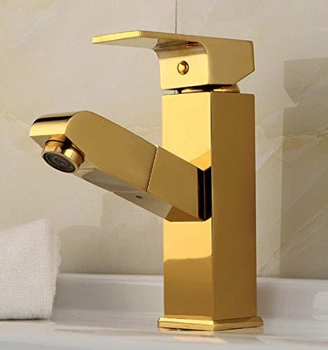 HYY-YY Estilo europeo hogar solo agujero pull-out oro lavabo grifo cobre completo caliente y frío baño lavabo telescópico