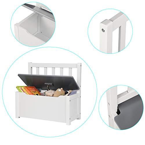 WOLTU SPK001 Kindersitzbank mit Stauraum, Spielzeugkiste zum Sitz und Aufbewahrung Truhenbank, 58x26x53cm, passend zu Sitzgruppe, Weiß+Grau - 3
