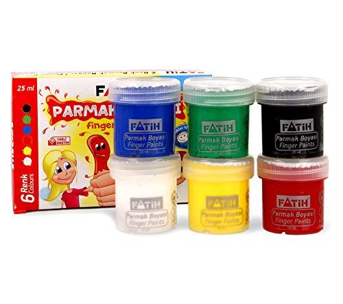 Krevo Art Fingerfarben, Leuchtkräftig und deckend, Auswaschbar und Ungiftig, TÜV Nord, CE, EN71 Zertifiziert - 6x25ml - Malen mit Pinsel, Fingern, Hände, Füße - Therapeutische Wirkung möglich