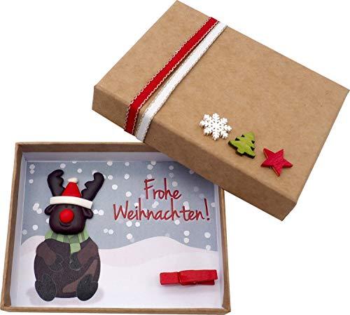 ZauberDeko Geldgeschenk Verpackung Weihnachten Xmas Rentier Elch Natur Geschenk Gutschein