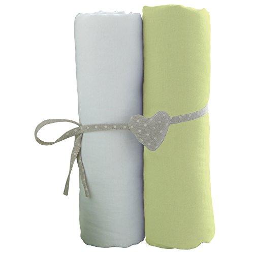 Babycalin - Lot de 2 draps housse blanc/vert - 70x140 cm
