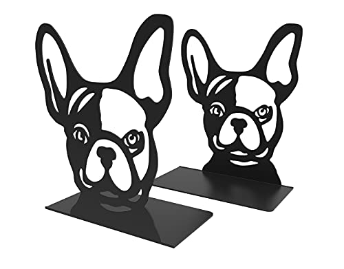 Decorative Bookends, French Bull Dog Book Ends for Home, Office, Library & Bookshelf Decor, Unique Black Metal Book Ends for Organizing Heavy Books