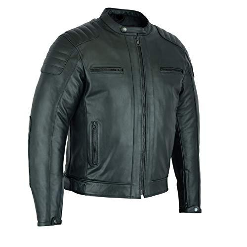 Chaqueta Moto Hombre en Cuero Urban Chaqueta de piel Negro (XL, NEGRO)