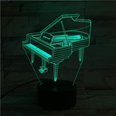 Nur 1 Stück Klavier Usb 3d Led Nachtlicht Multicolor Rgb Jungen Kinder Baby Geschenke Musikinstrument Pianoforte Atmosphäre Tischlampe Nachttisch