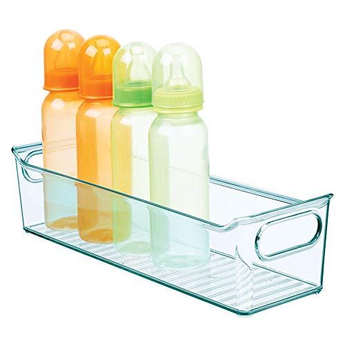 mDesign Cestas organizadoras para cuarto de bebé – Contenedor plástico con prácticas asas y sin tapa – Gran caja para juguetes o pañales en plástico libre de BPA – azul claro