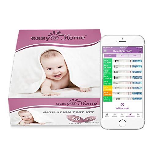Easy@Home 50 Ovulationstest und 20 Schwangerschaftstest Streifen, Unterstützt durch Premom Ovulation Predictor iOS und Android App (50 LH + 20 HCG Tests)