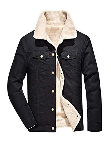 Omoone Men's Button Up Vintage Sherpa Fleece Lined Denim Biker Jacket Jean Coat (Black, Small)