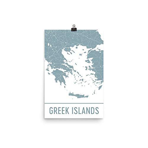 """Modern Map Art Presión de las islas griegas, las islas griegas, griego islas mapa 12 """"X 18"""""""