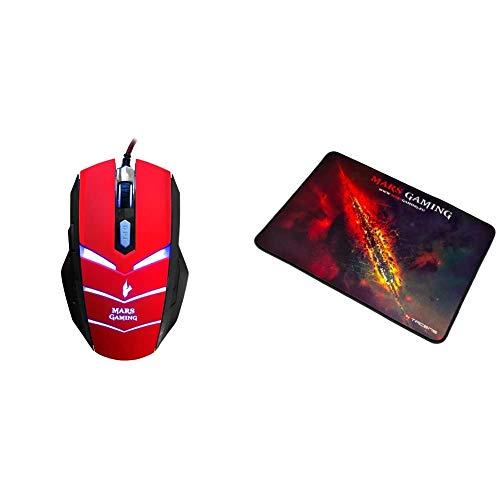 MARSGAMING MMVU1 Ratón Gaming para PC (5000 dpi, Sensor óptico Avago, iluminación LED en 7 Colores + MMP1 Alfombrilla Gaming para PC (Máxima Precisión con Cualquier Ratón