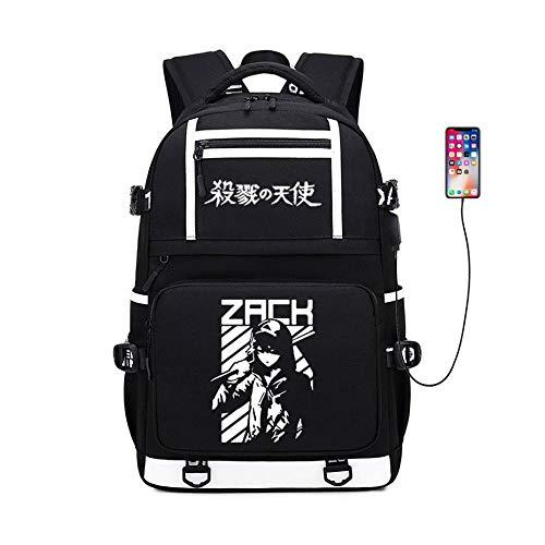 2020 New Angels of Death Rucksack Daypack Bookbag Laptop-Schule-Beutel mit USB-Anschluss Aufladen (Color : Black3)