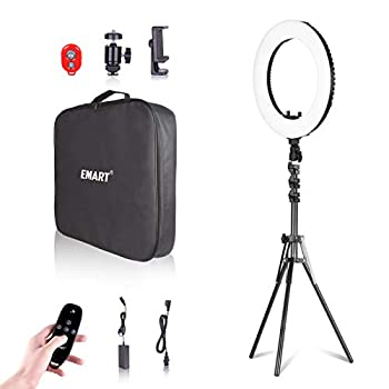 Emart 18-inch Ring Light with Stand Big Adjustable 3200-5500K LED Lights Ring with Ultra-wide Lighting Area for Camera Photography YouTube Videos Makeup  Kit  Phone Holder Remote Soft Tube etc