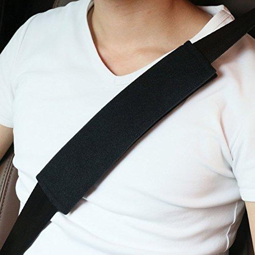 Voiture Protège Ceinture de Sécurité Coussin, 2 packs de Harnais Souple pour siège d'auto Pour Enfant et Adultes, Sans Fondu, Convient pour Ceinture de Sécurité, sac à dos, sac à Bandoulière (noir)